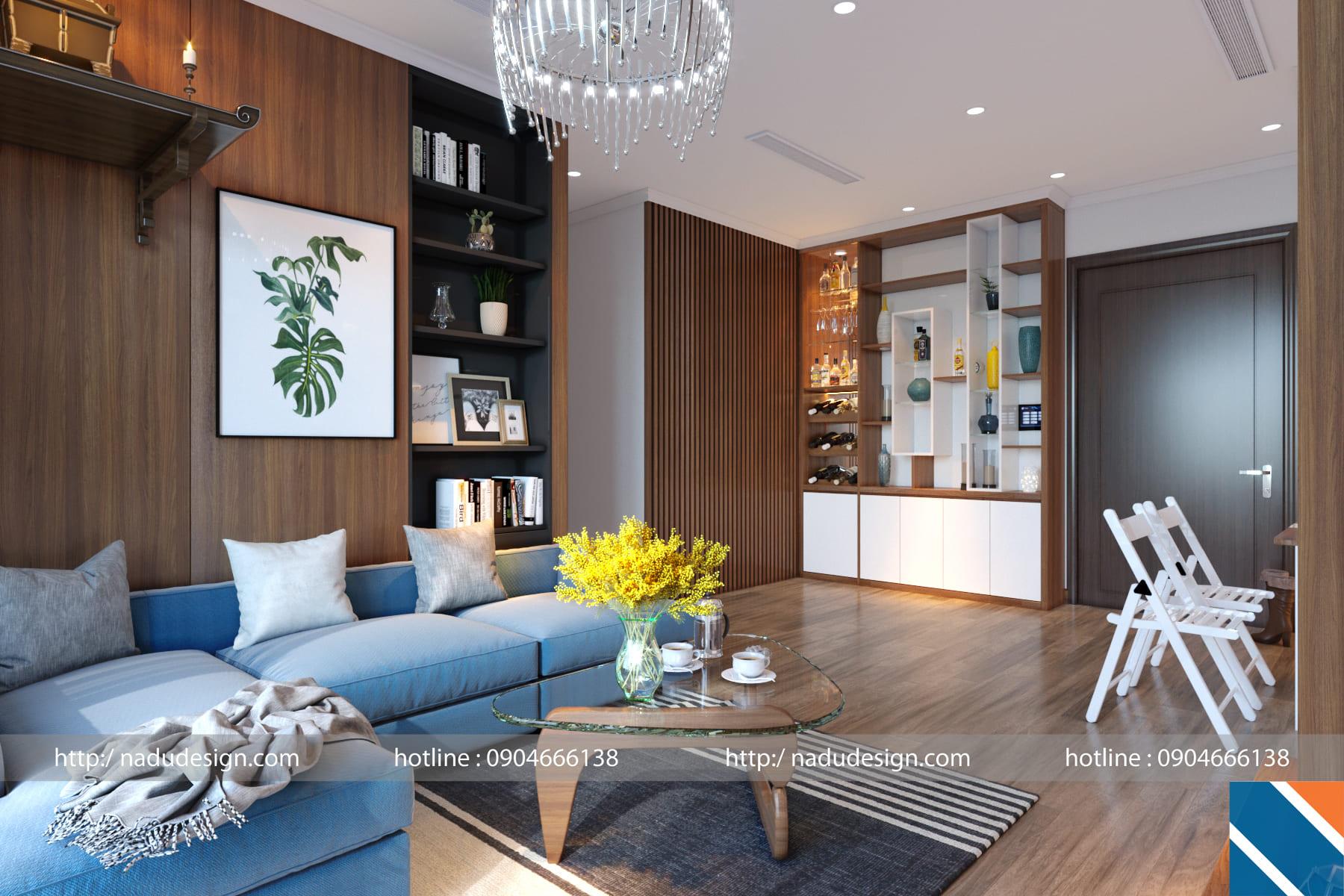 thiết kế nội thất chung cư 45m2 phong cách hiện đại