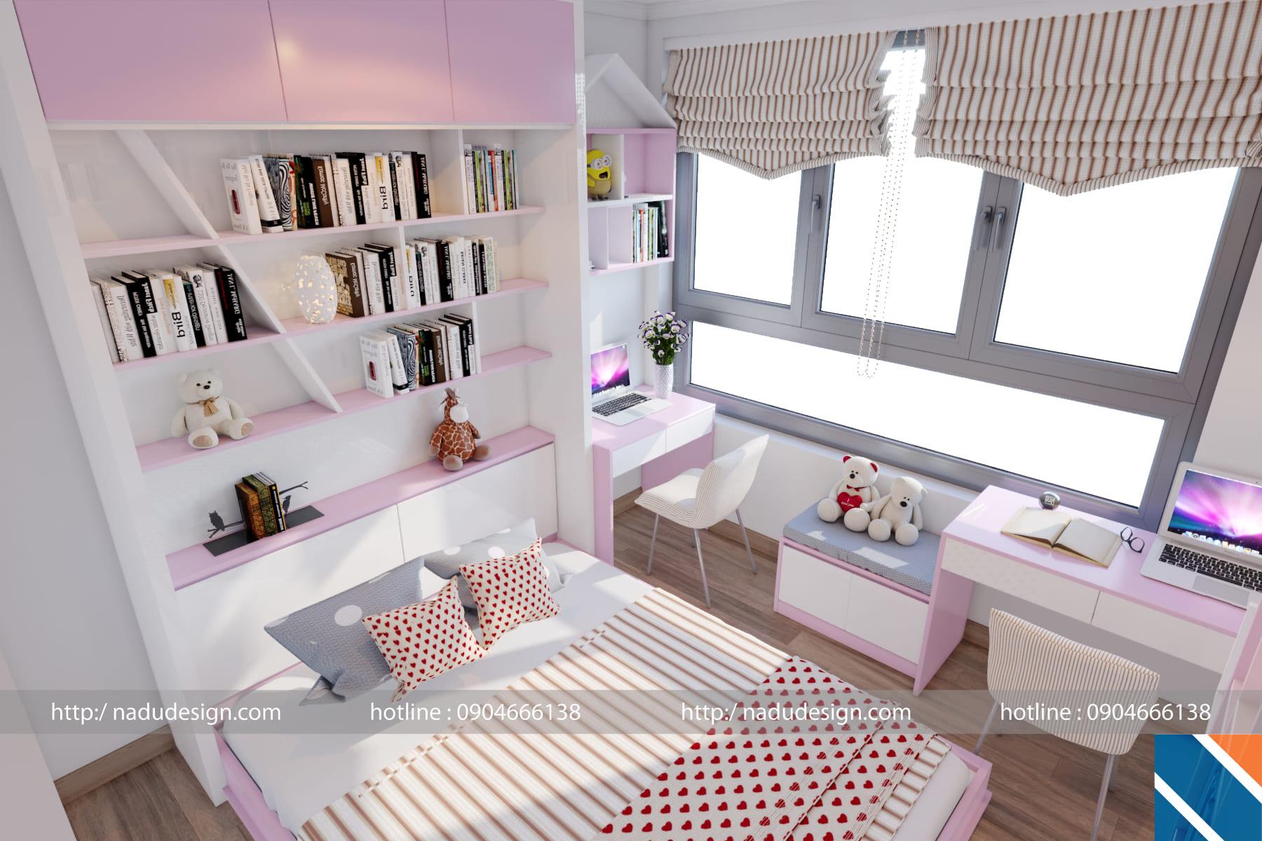 thiết kế nội thất chung cư 45m2 - phòng ngủ con gái