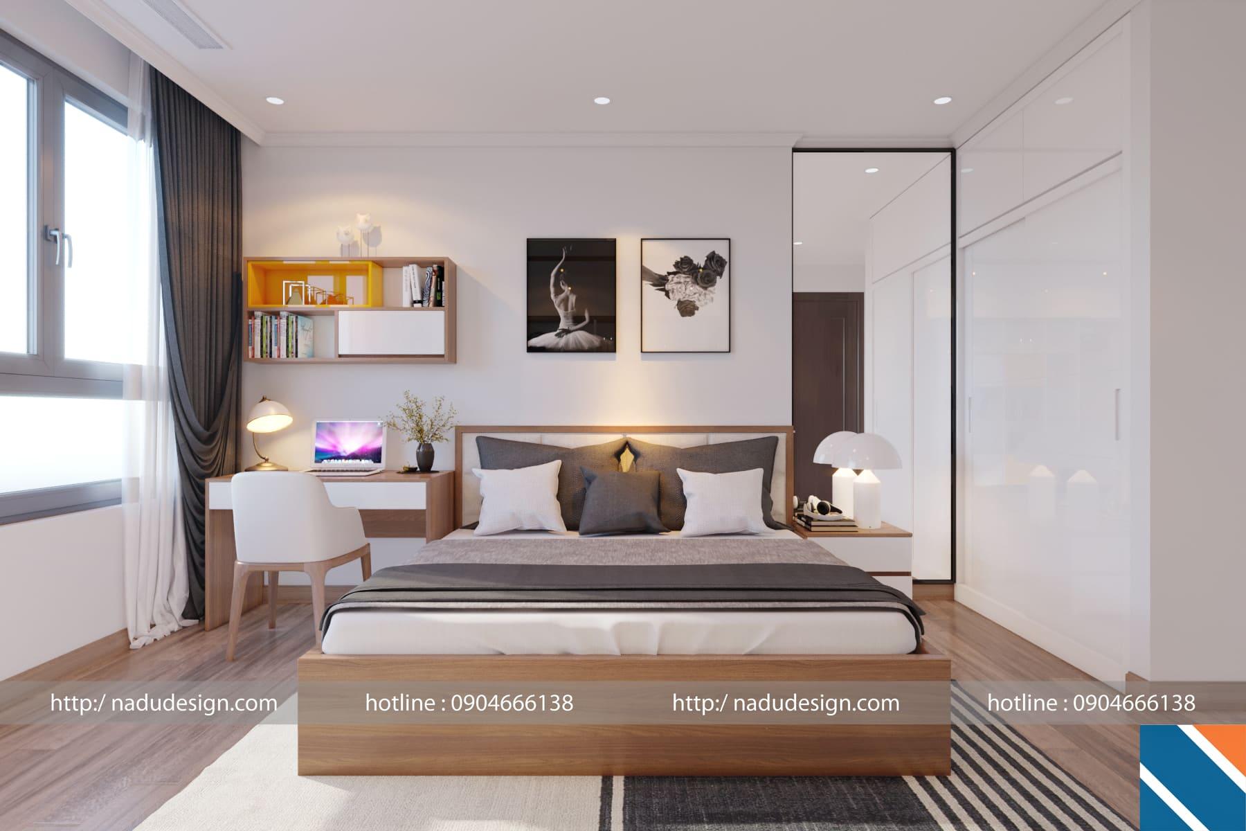 Thiết kế nội thất chung cư 45m2 phòng ngủ