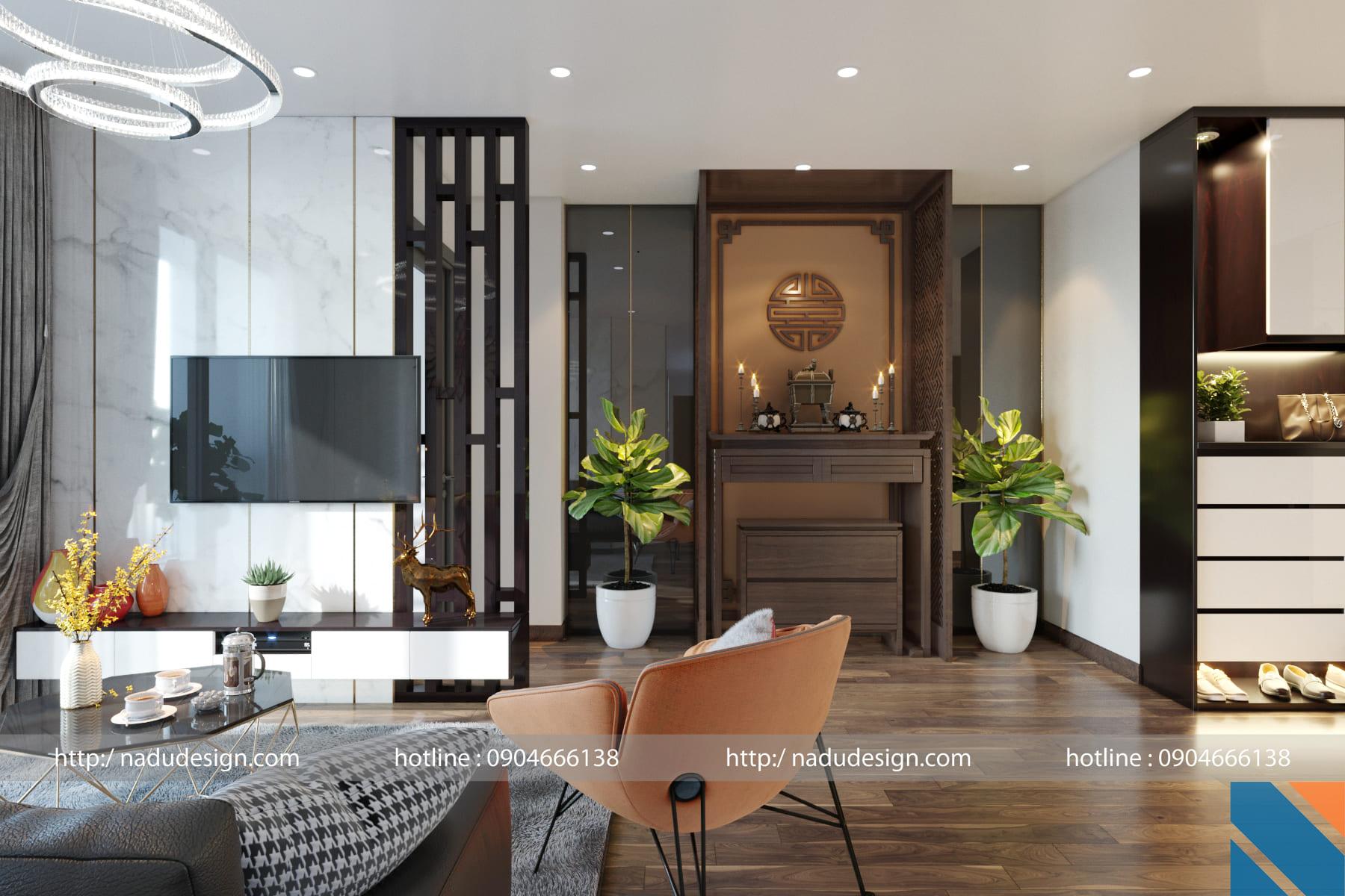 Thiết kế nội thất chung cư phong cách tân cổ điển ảnh 2