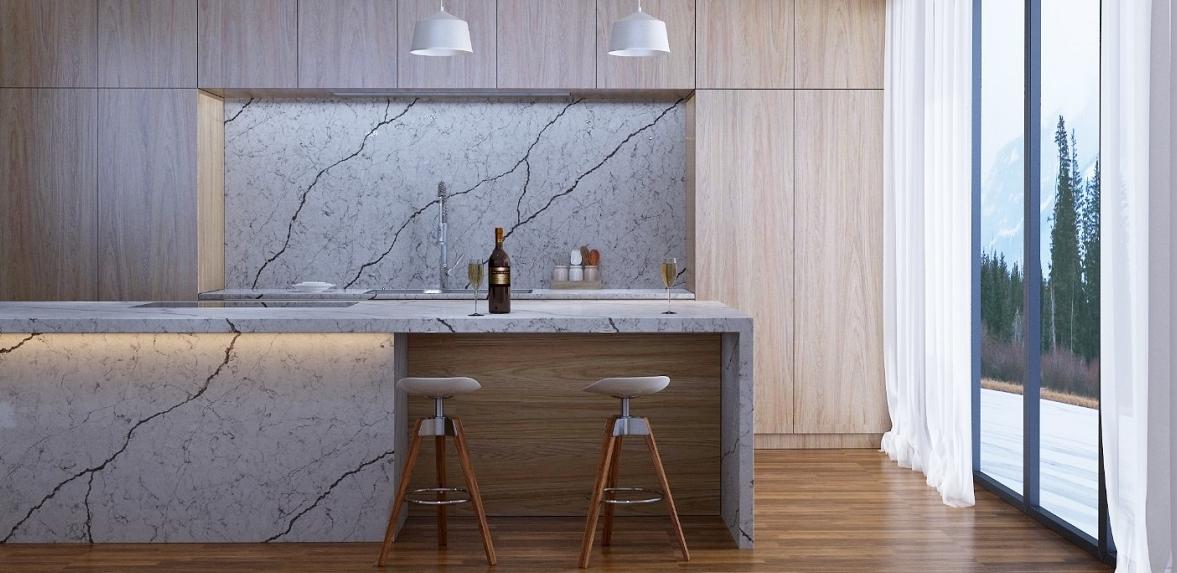 Thiết kế nội thất chung cư với đá màu giả gỗ