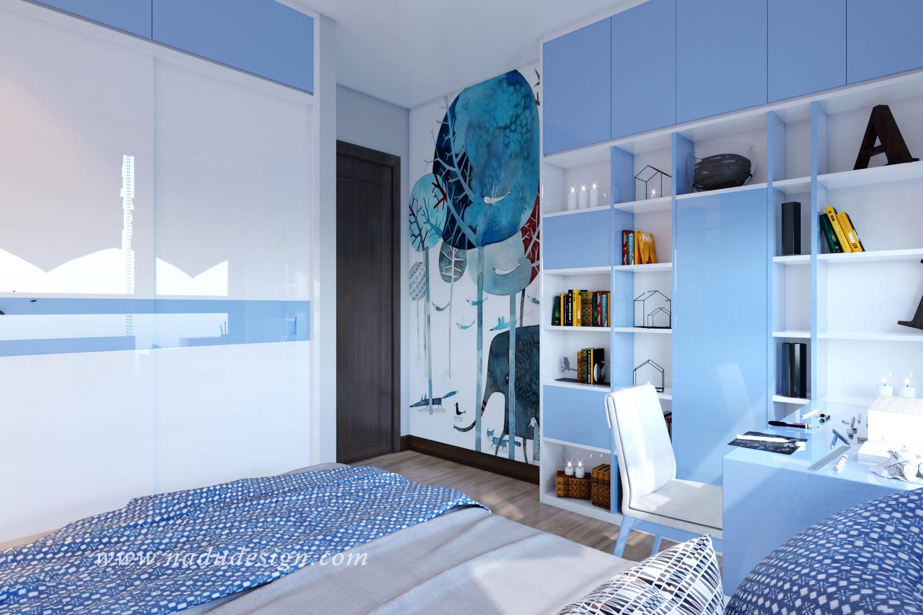 mẫu thiết kế nội thất phòng ngủ bé trai