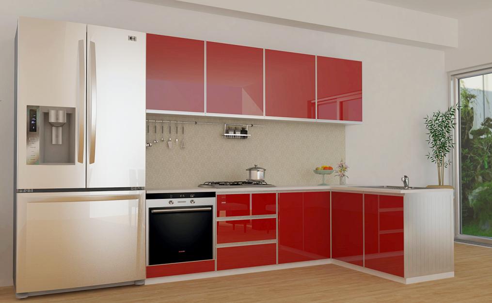 thiết kế tủ bếp màu nóng