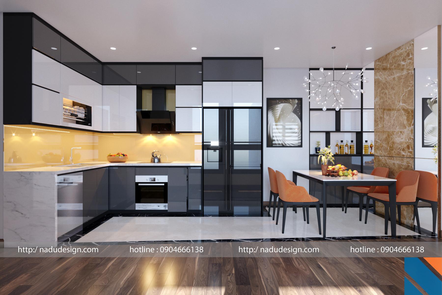 thiết kế nội thất phòng bếp sử dụng tủ bếp chư l