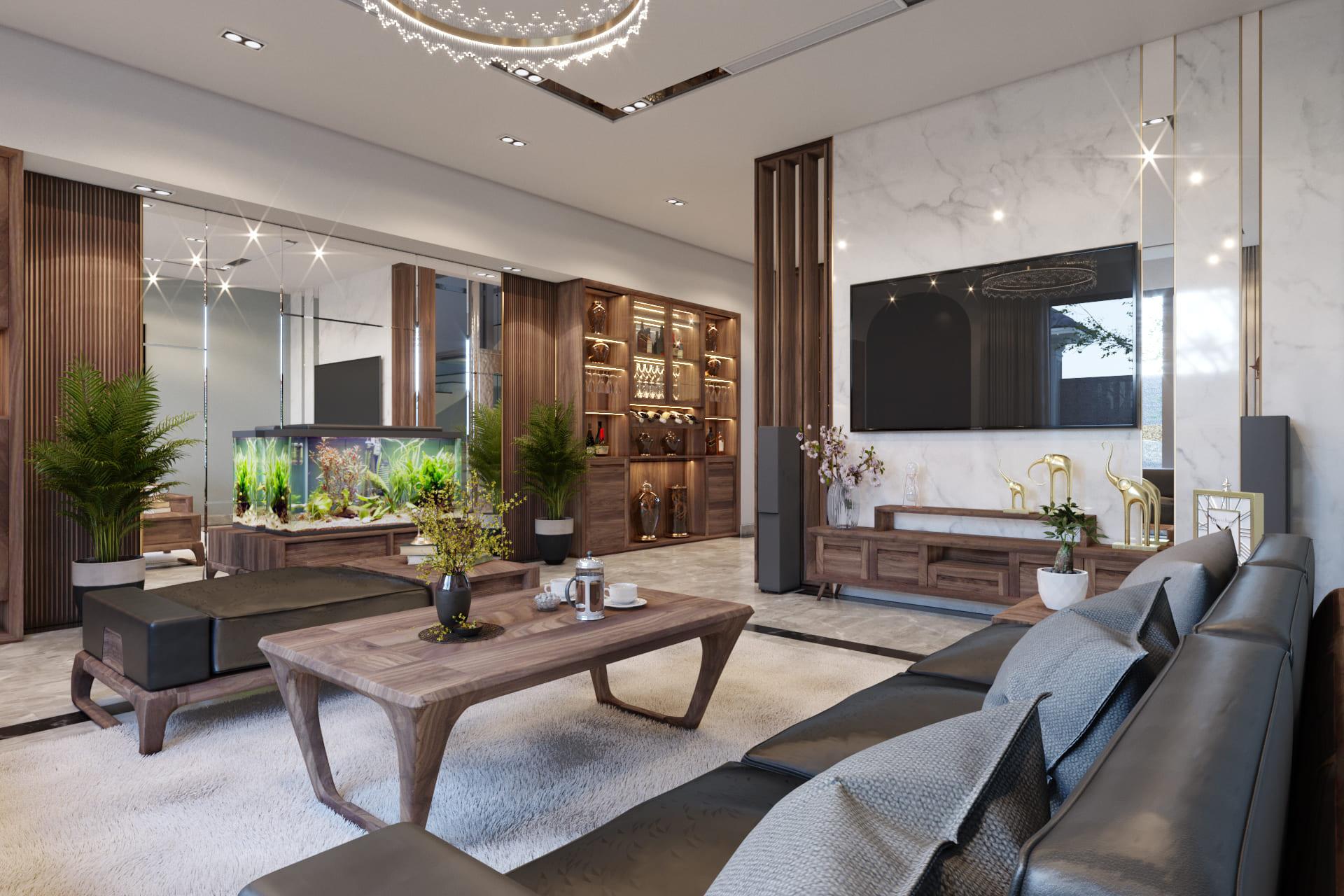 Thiết kế nội thất phòng khách biệt thự đẹp