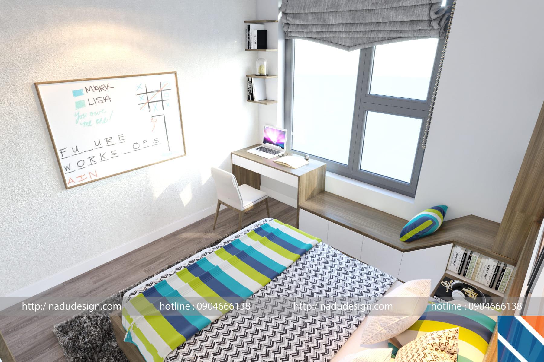 Thiết kế nội thất phòng ngủ 12m vuông đẹp hiện đại