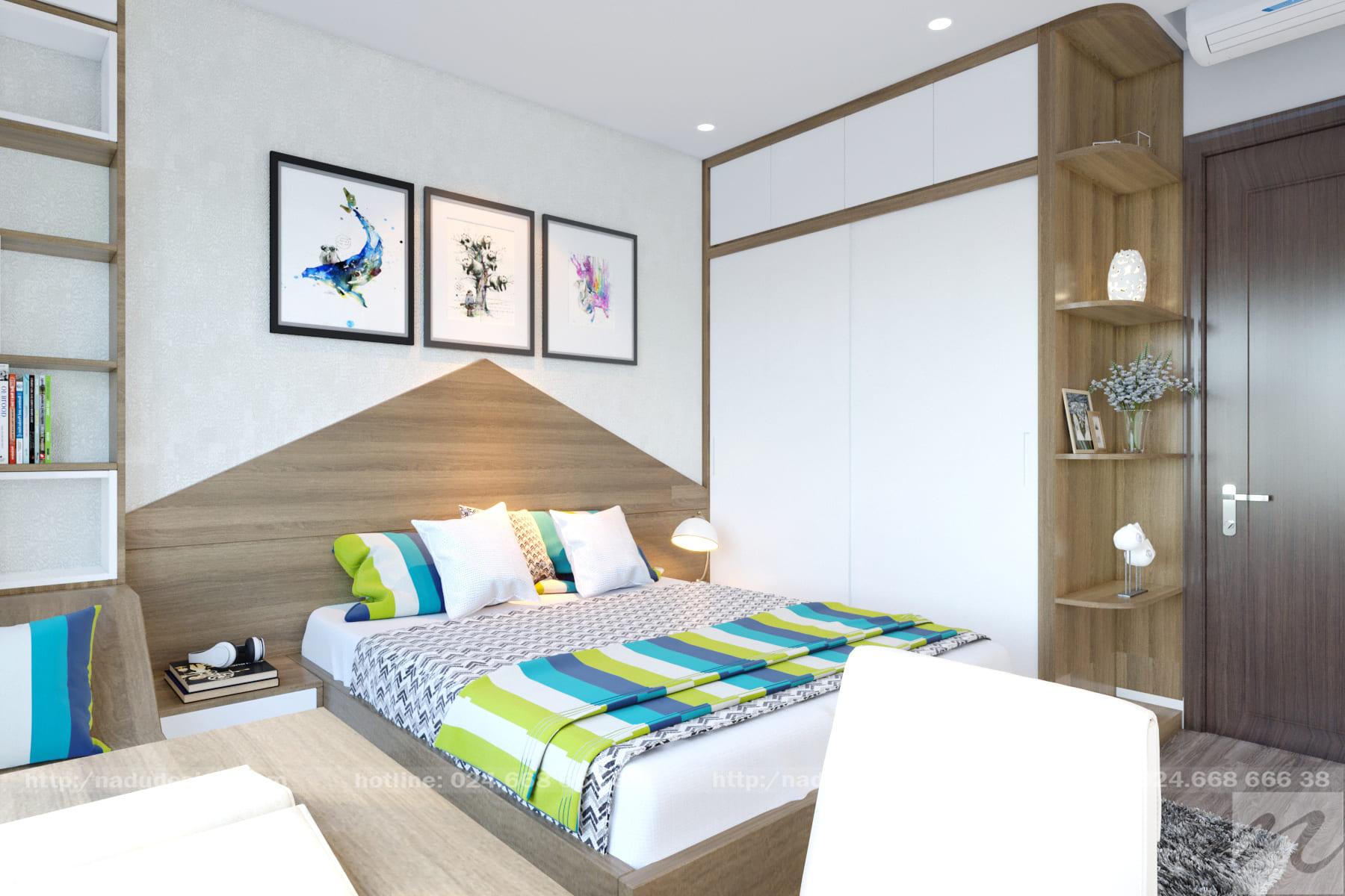 Mẫu thiết kế nội thất phòng ngủ 12m vuông đẹp sang trọng