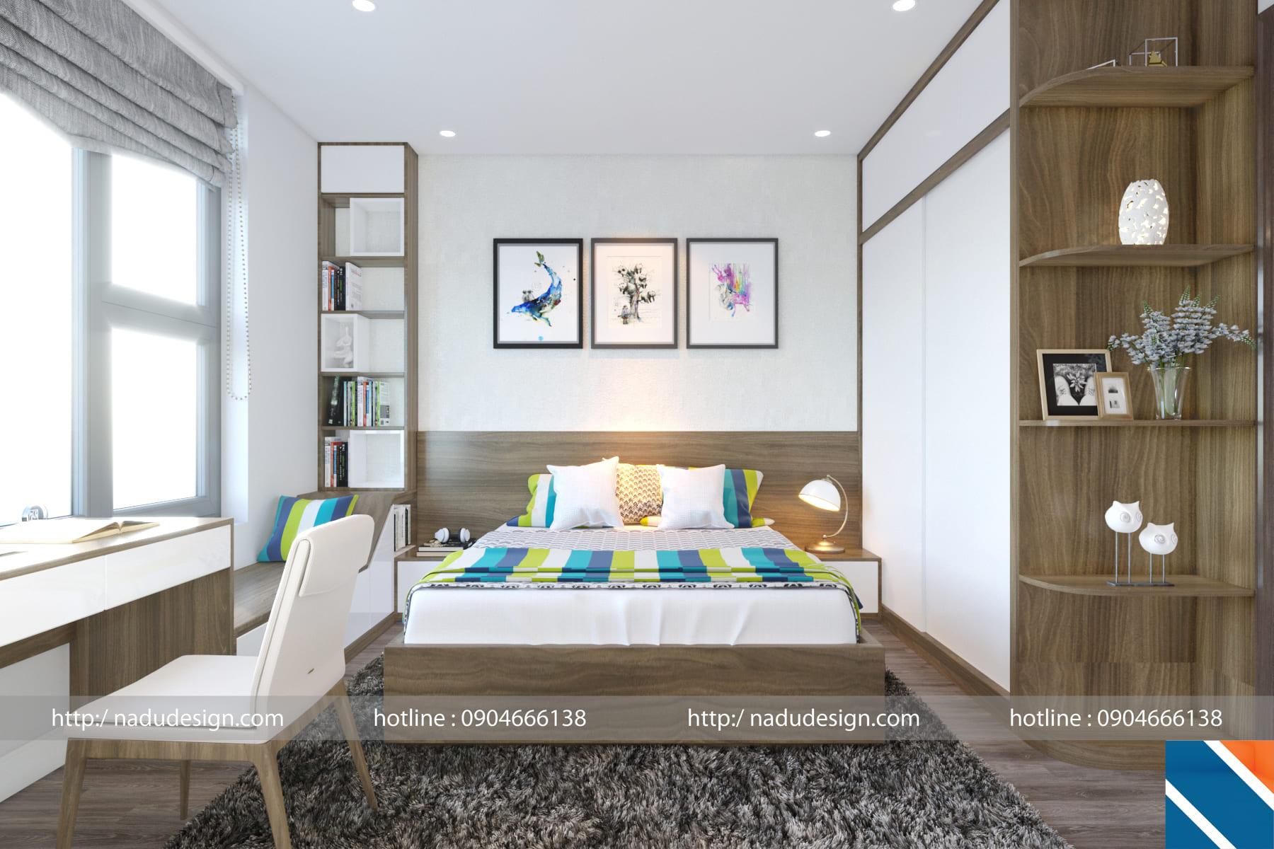 Mẫu thiết kế nội thất phòng ngủ 12m vuông đẹp đơn giản