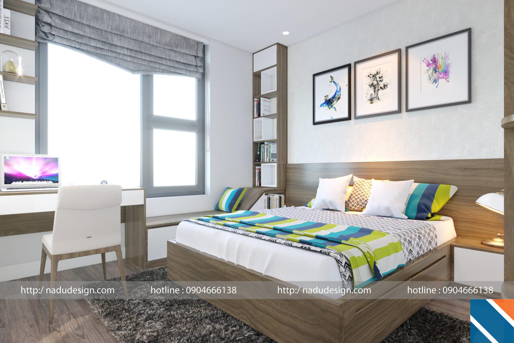 Mẫu thiết kế nội thất phòng ngủ 12m vuông đẹp