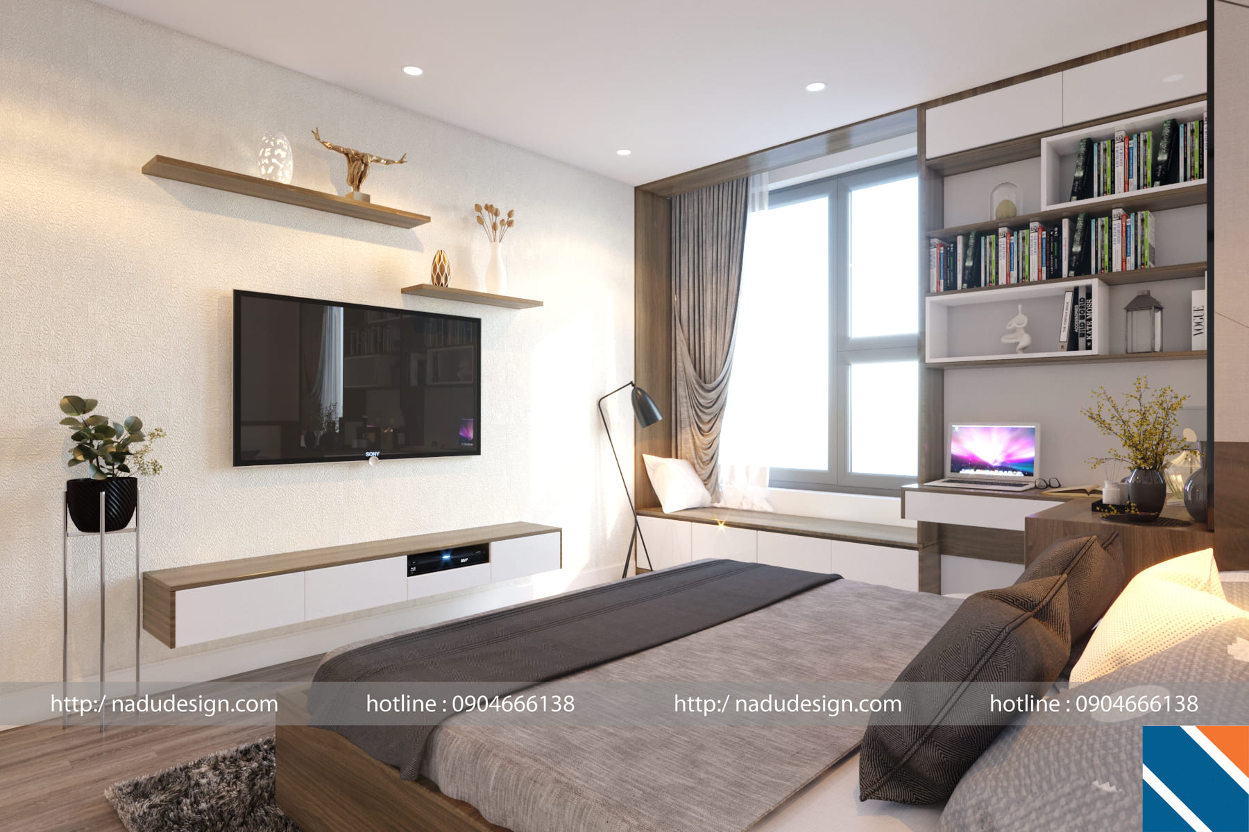 Mẫu thiết kế nội thất chung cư phòng ngủ 15m vuông đẹp, hiện đại, sang trọng