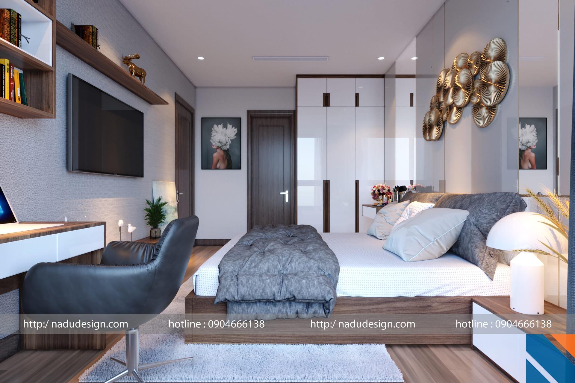 Mẫu thiết kế nội thất phòng ngủ 20m vuông đẹp
