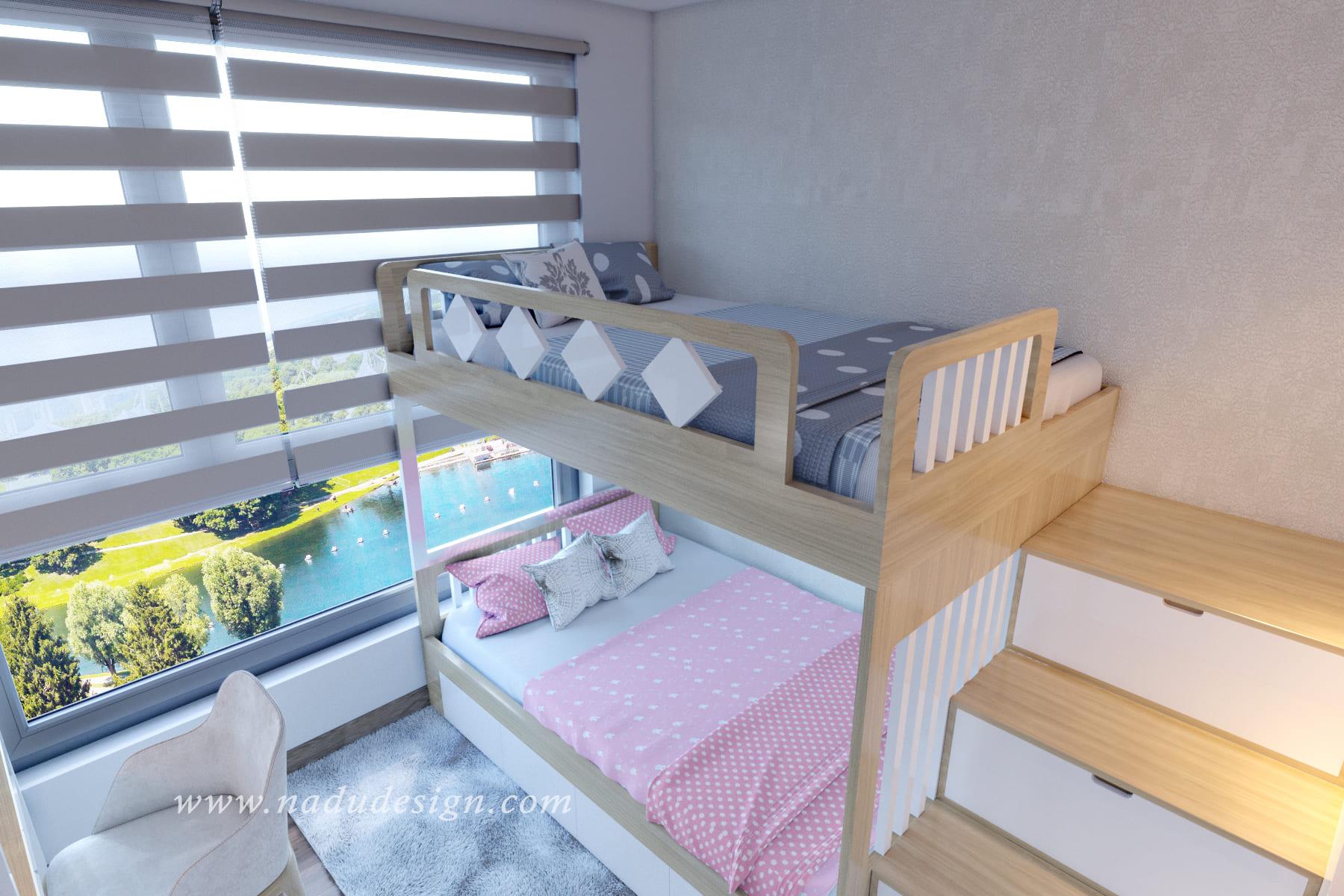 Thiết kế nội thất phòng ngủ đôi cho bé