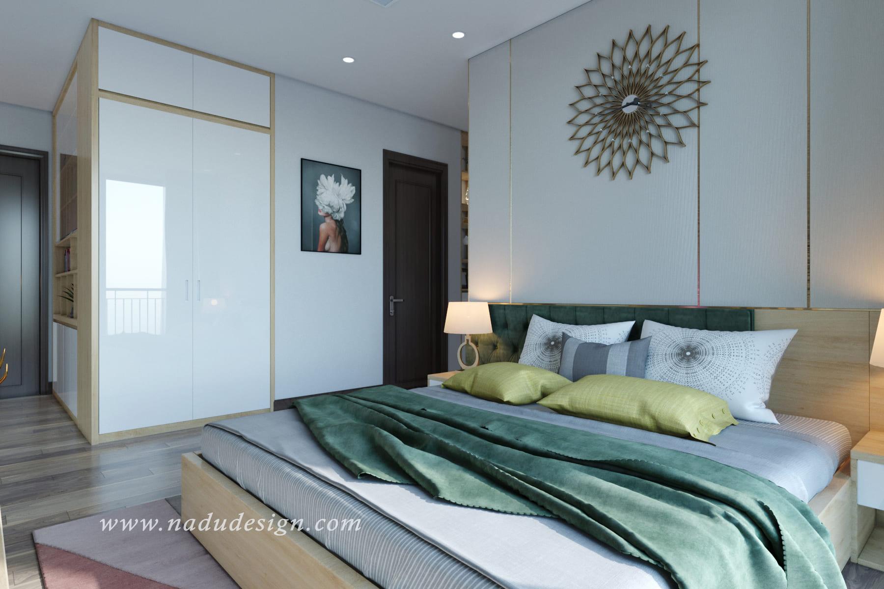 Mẫu thiết kế nội thất phòng ngủ master hiện đại gia đình anh Thắng