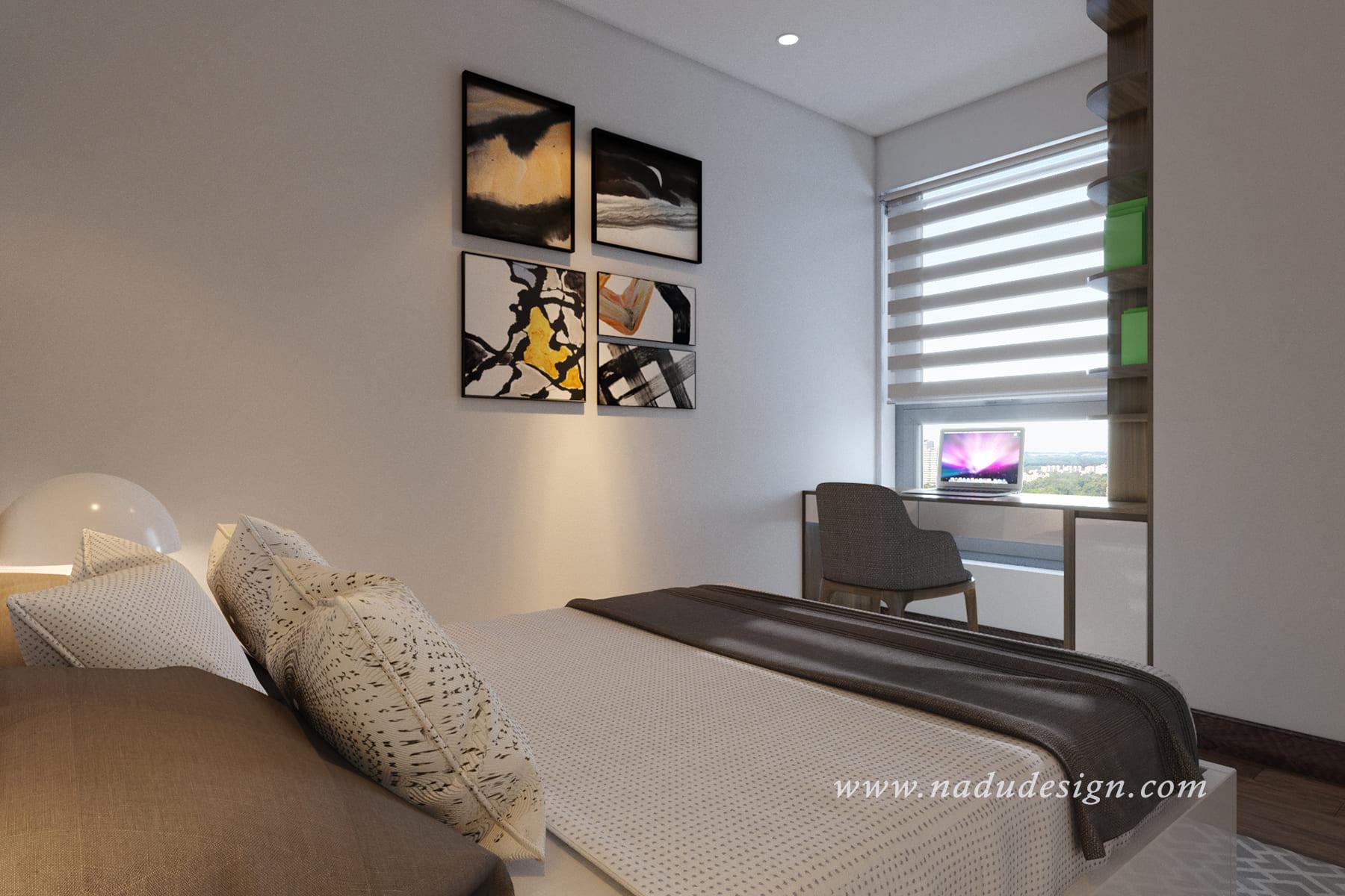 Thiết kế nội thất phòng ngủ master nhỏ