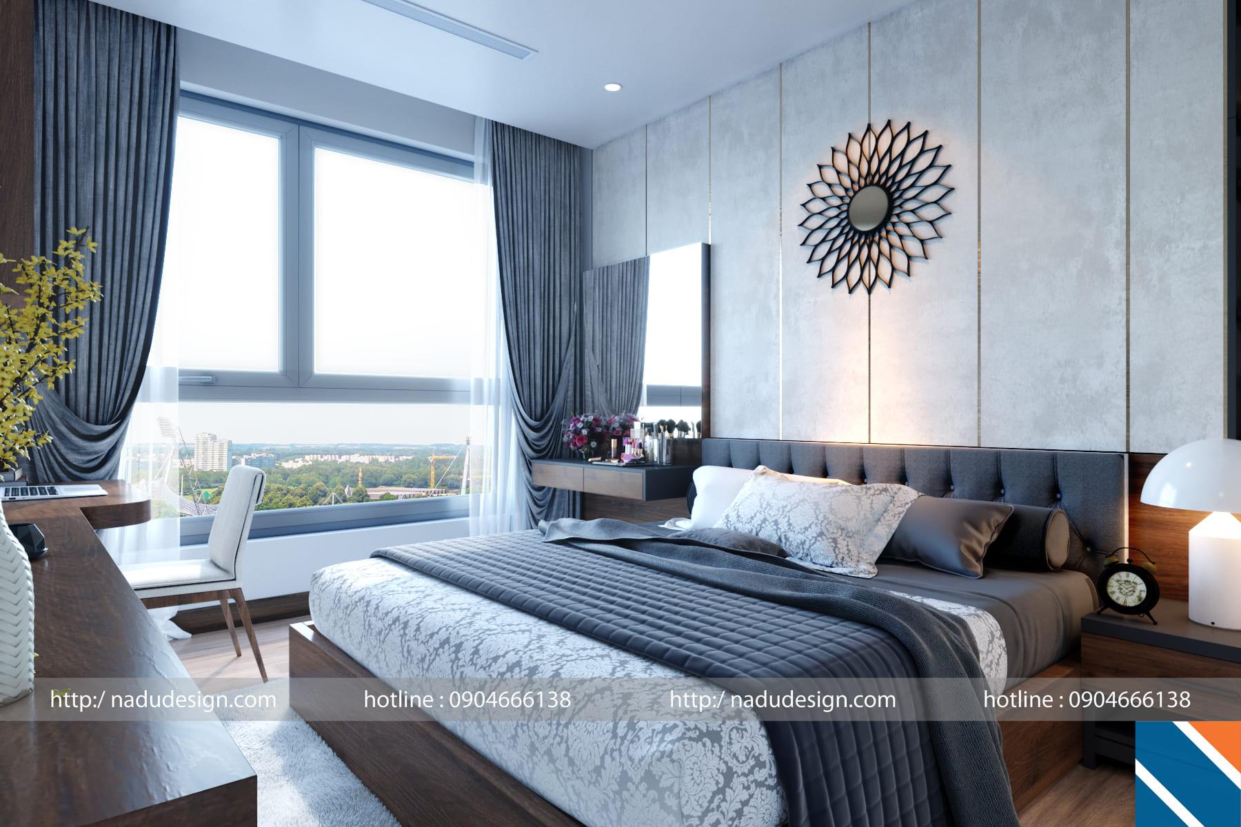 mẫu thiết kế nội thất phòng ngủ chung cư đẹp