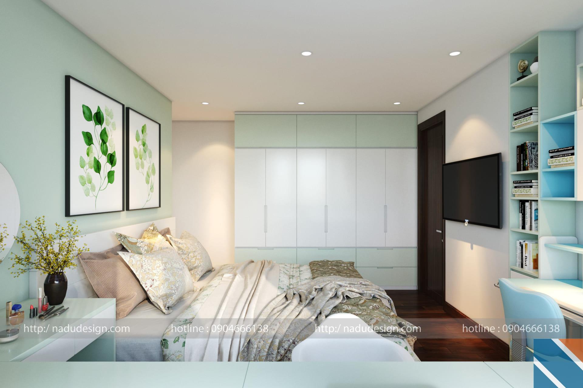Mẫu thiết kế nội thất phòng ngủ nhỏ 10m vuông đẹp đơn giản