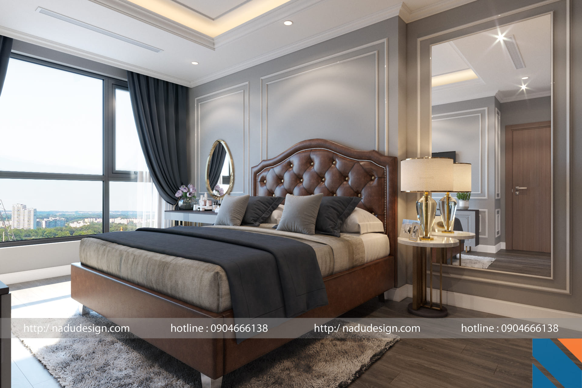 Thiết kế nội thất phòng ngủ chung cư Vinhome