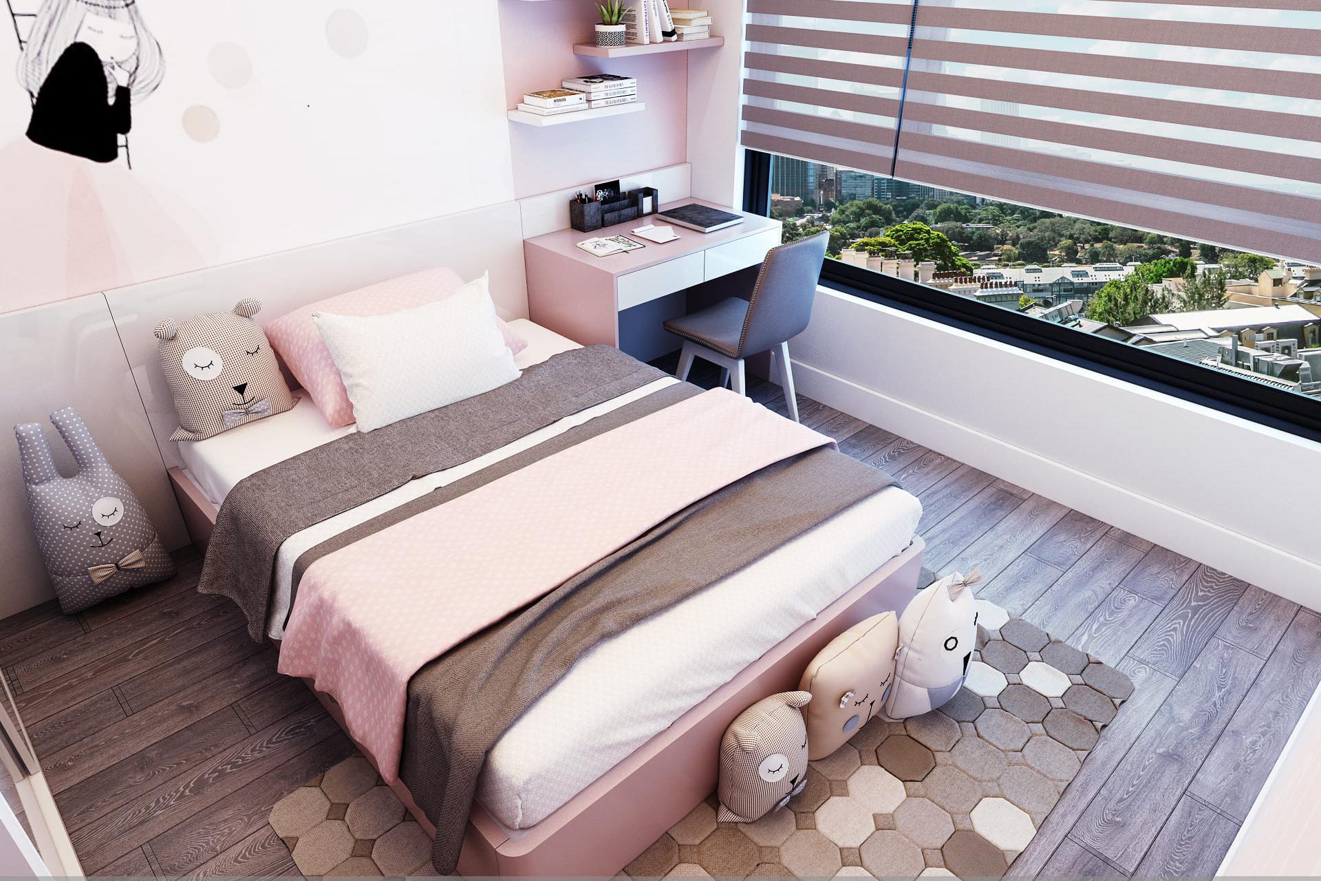 Thiết kế nội thất phòng ngủ nhỏ chung cư Vinhome Gardenia