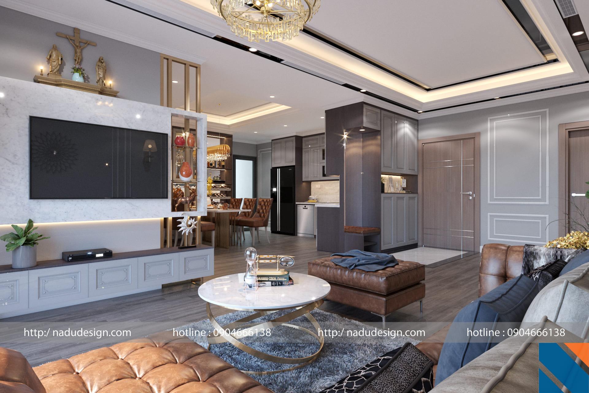 Thiết kế nội thất Vinhome Gardenia phong cách tân cổ điển