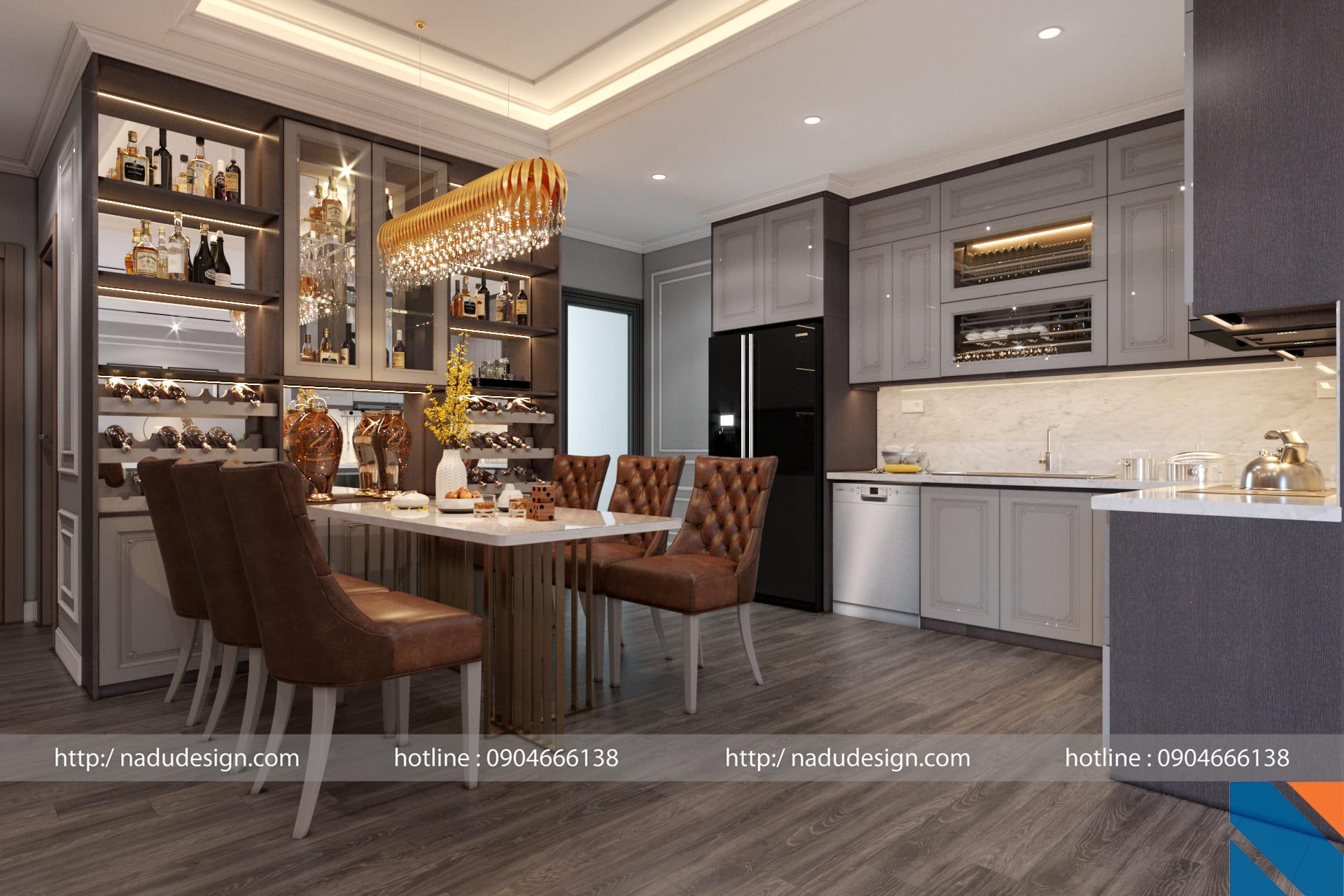 Thiết kế nội thất phòng khách bếp chung cư Vinhome