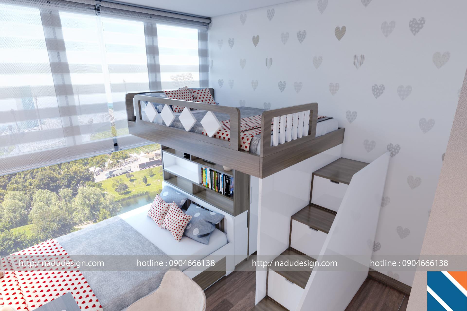 mẫu thiết kế nội thất phòng ngủ chung cư bé gái