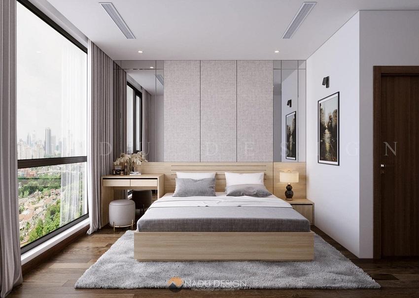 Phòng ngủ tông màu ghi xám cực Tây giúp làm nổi bật các nội thất nhỏ gọn, đơn giản.