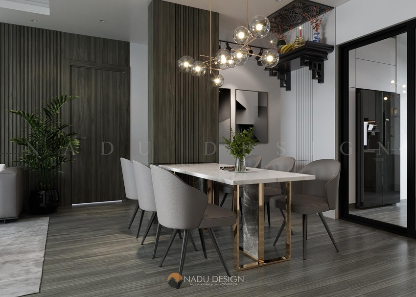 Toàn bộ căn hộ được sử dụng tông màu trắng làm nền cho các nội thất có màu ghi xám
