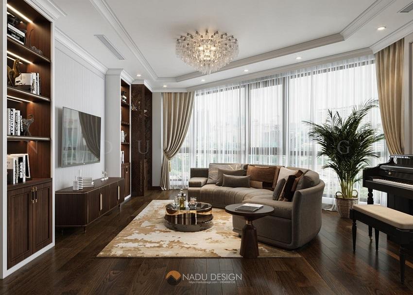 Gam màu mà NaDu lựa chọn cho phòng khách là màu nâu của sàn gỗ