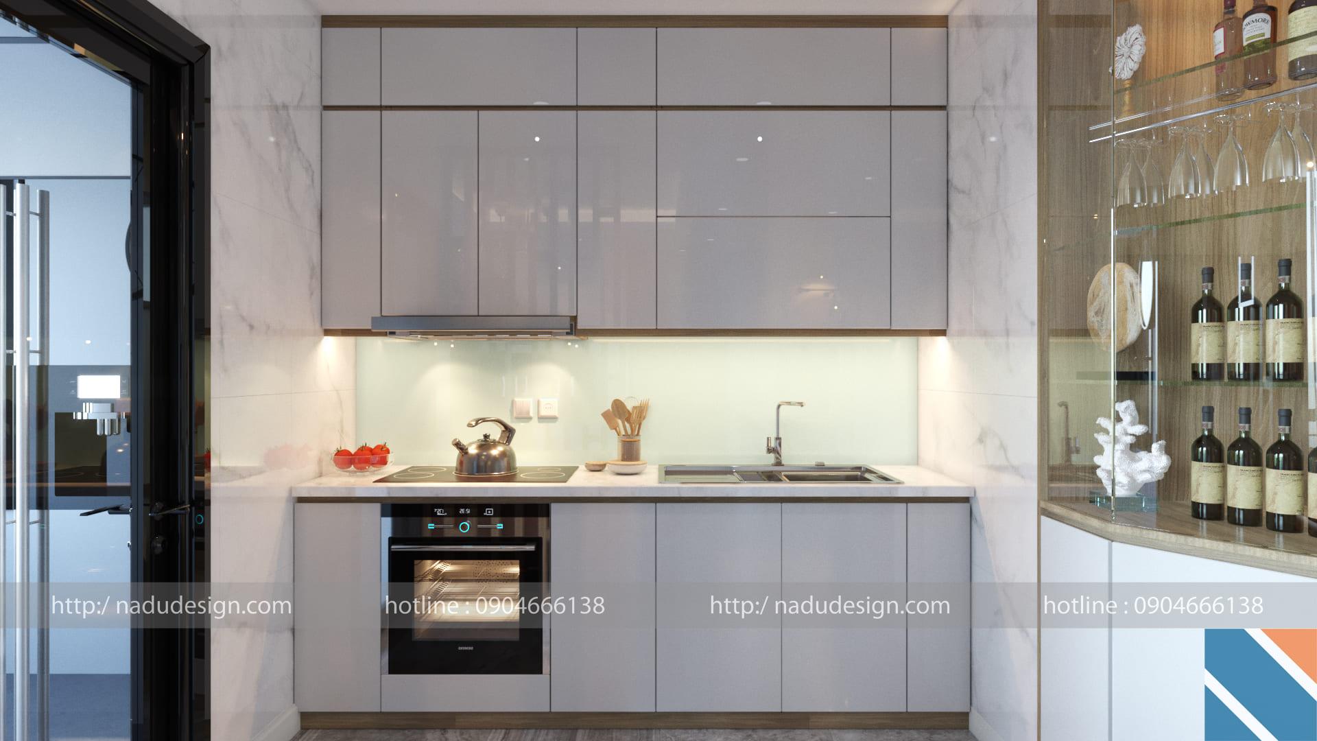 Tủ bếp gỗ Laminate mang phù hợp với phong cách hiện đại