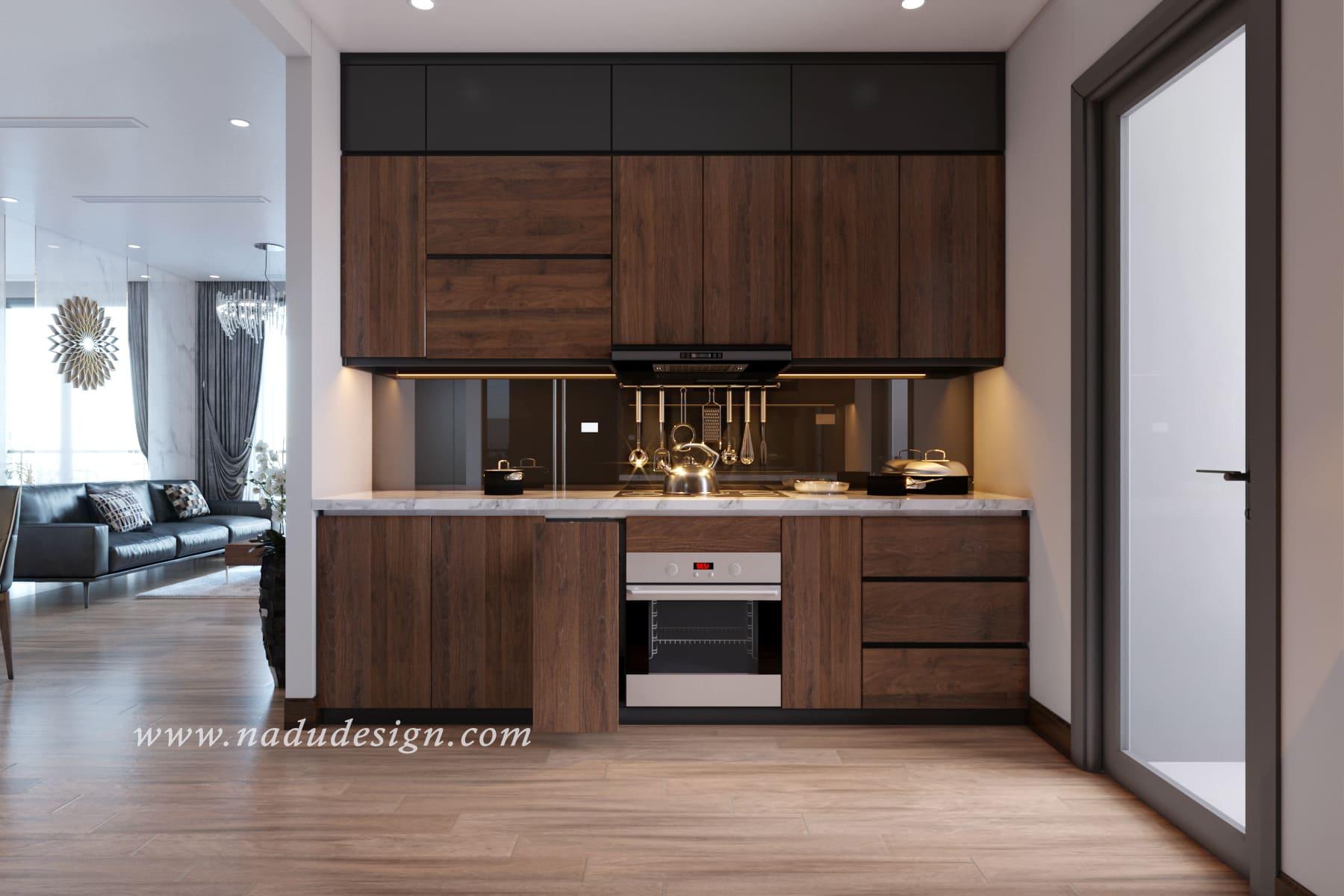 Tủ bếp gỗ óc chó đẹp và hiện đại nhất