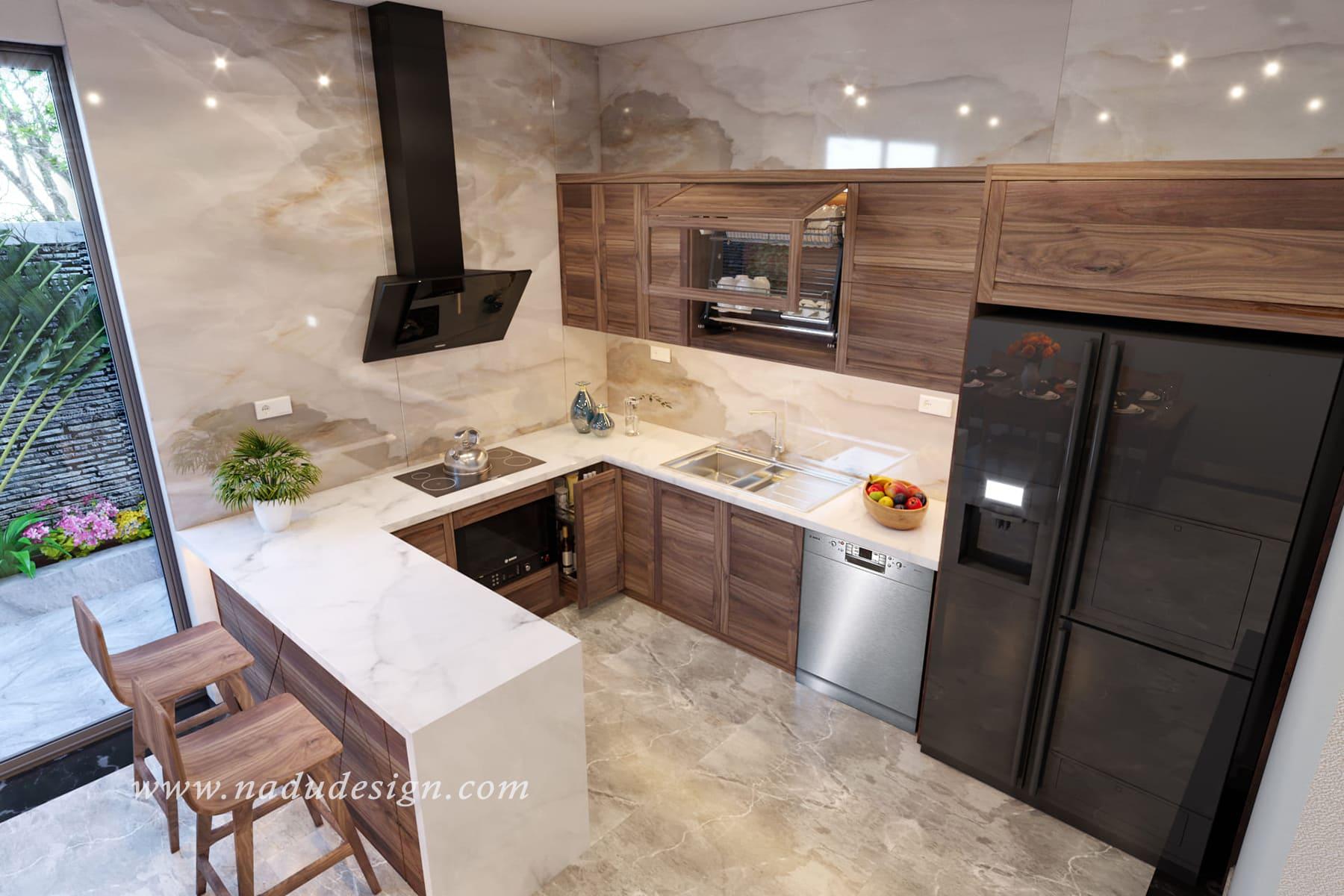 Tủ bếp gỗ óc chó đẹp