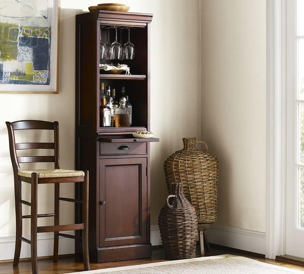 Tủ rượu góc phòng khách tiết kiệm diện tích