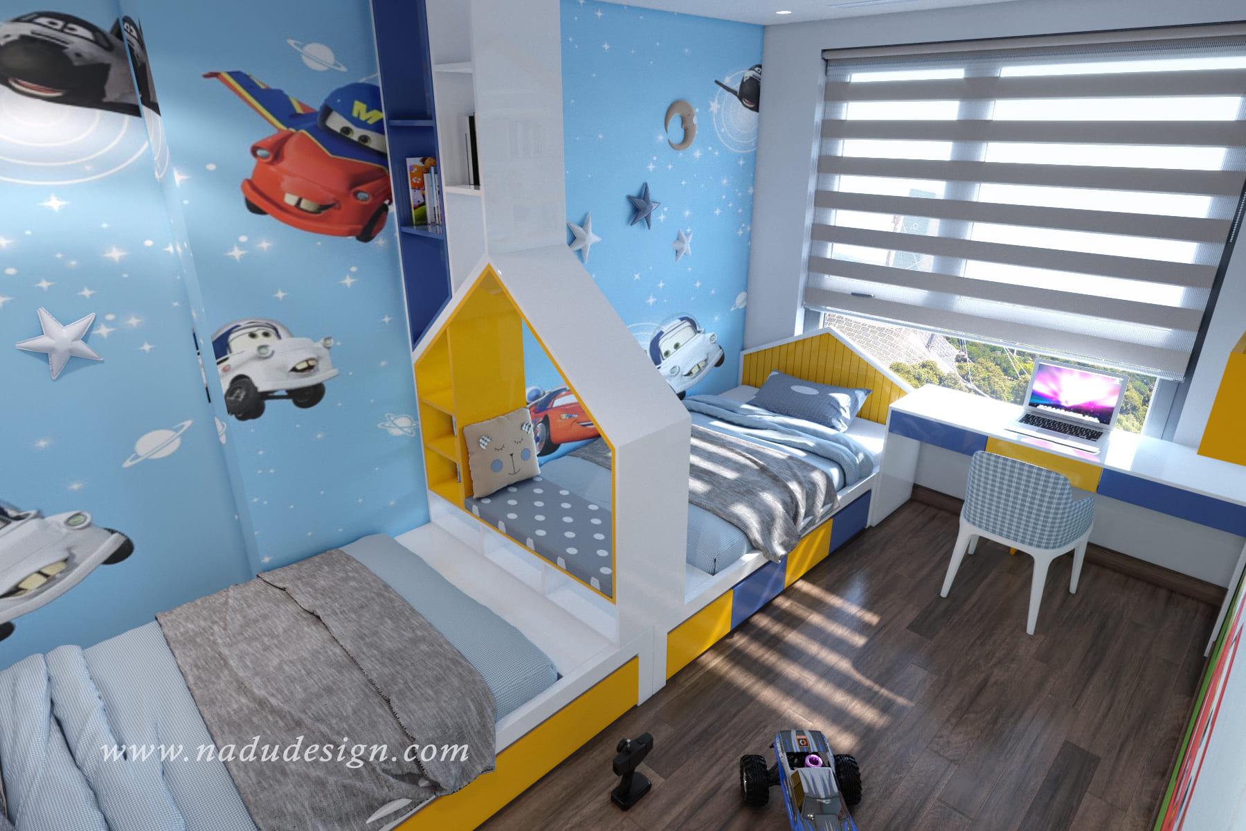 Thiết kế nội thất phòng ngủ cho bé trai và bé gái cực đáng yêu