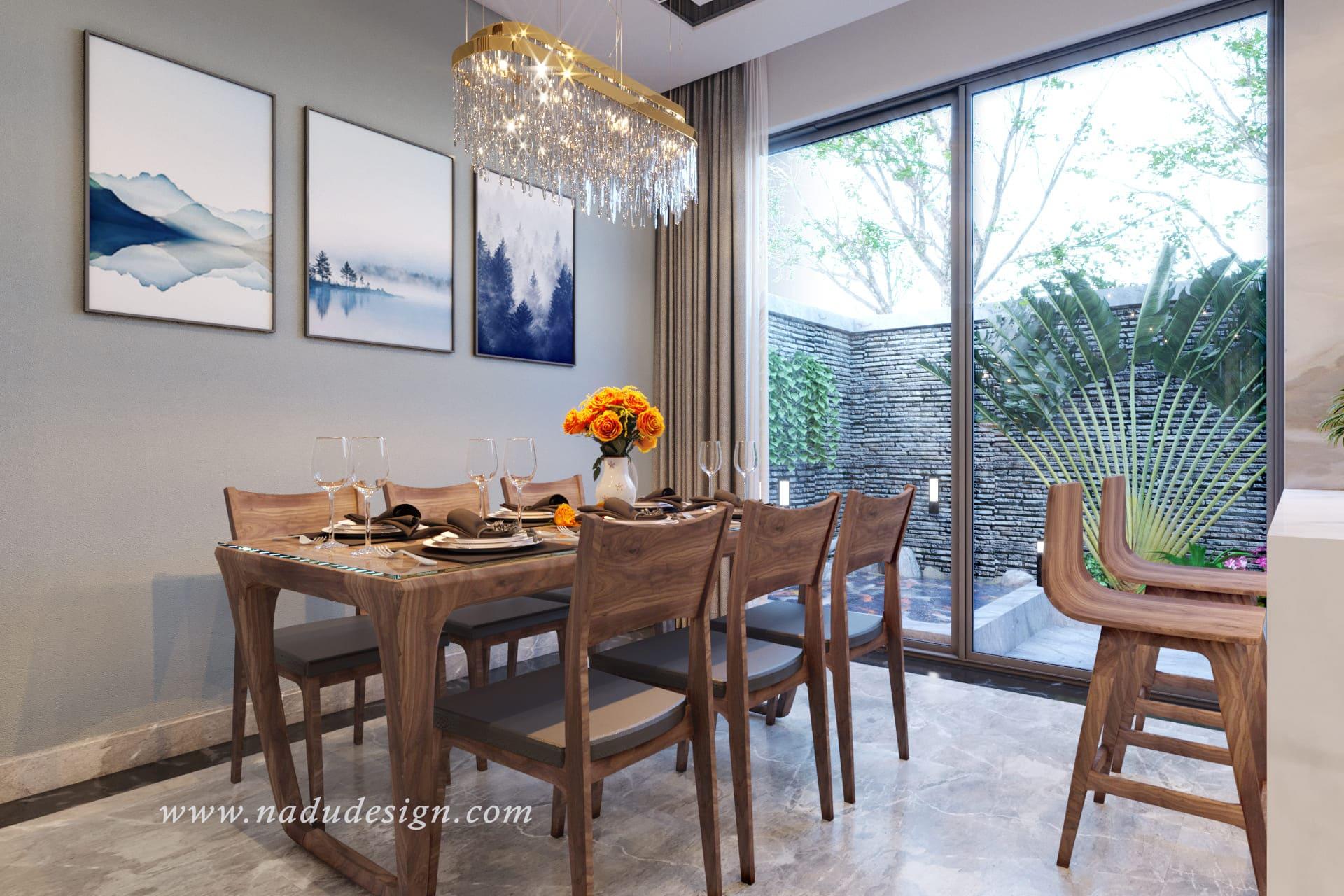 5 mẫu bàn ăn gỗ óc chó đẹp chất ngất đến từng chi tiết nhỏ tại NaDu Design