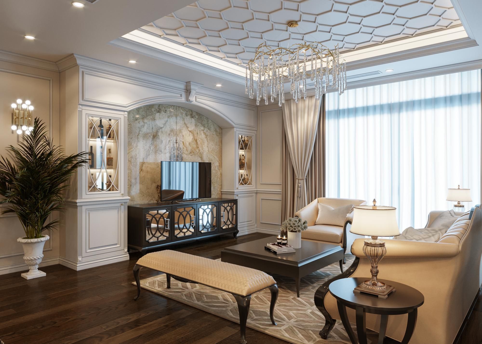Thiết kế nội thất chung cư Sun Grand City:  Đẳng cấp phong cách tân cổ điển