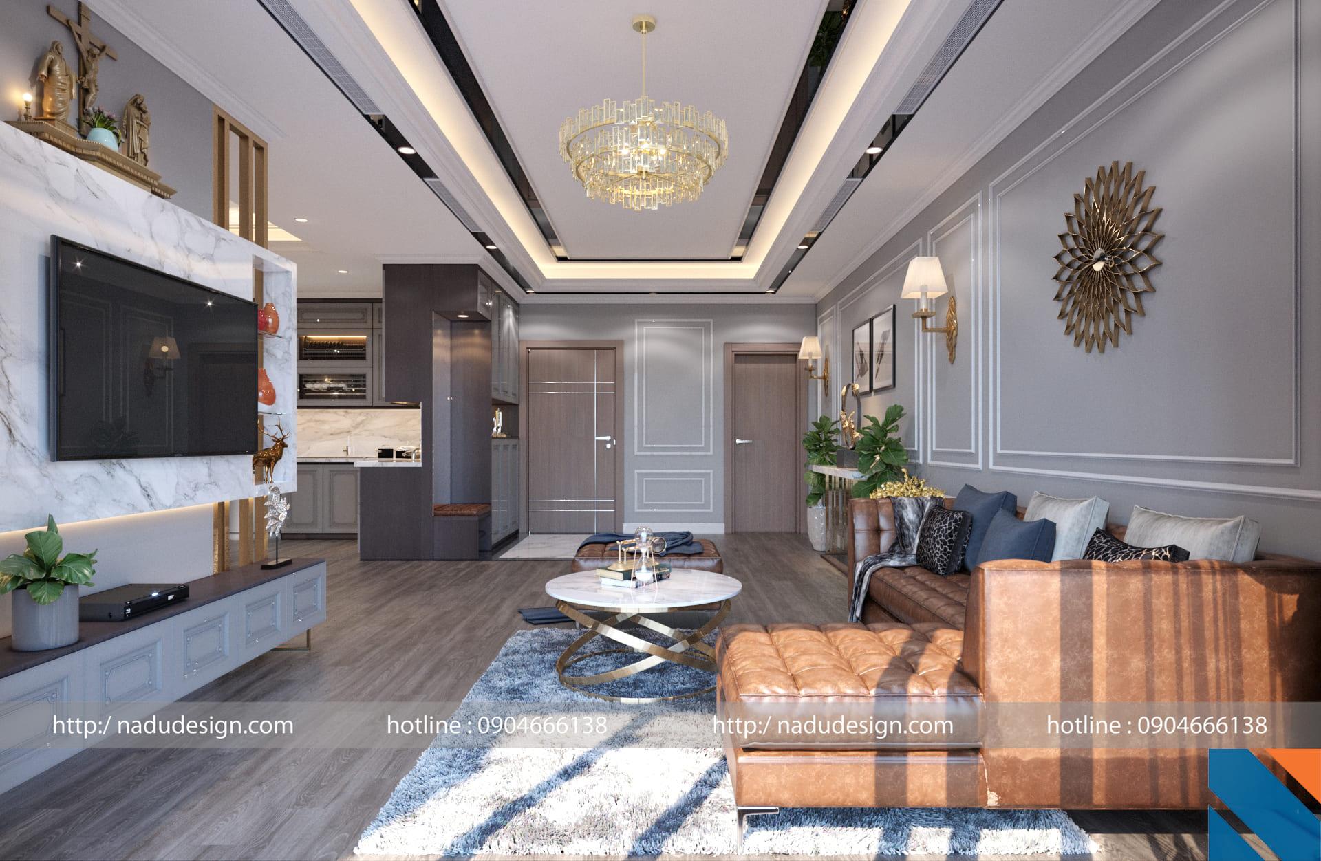 Thiết kế nội thất chung cư Vinhomes Gardenia phong cách tân cổ điển
