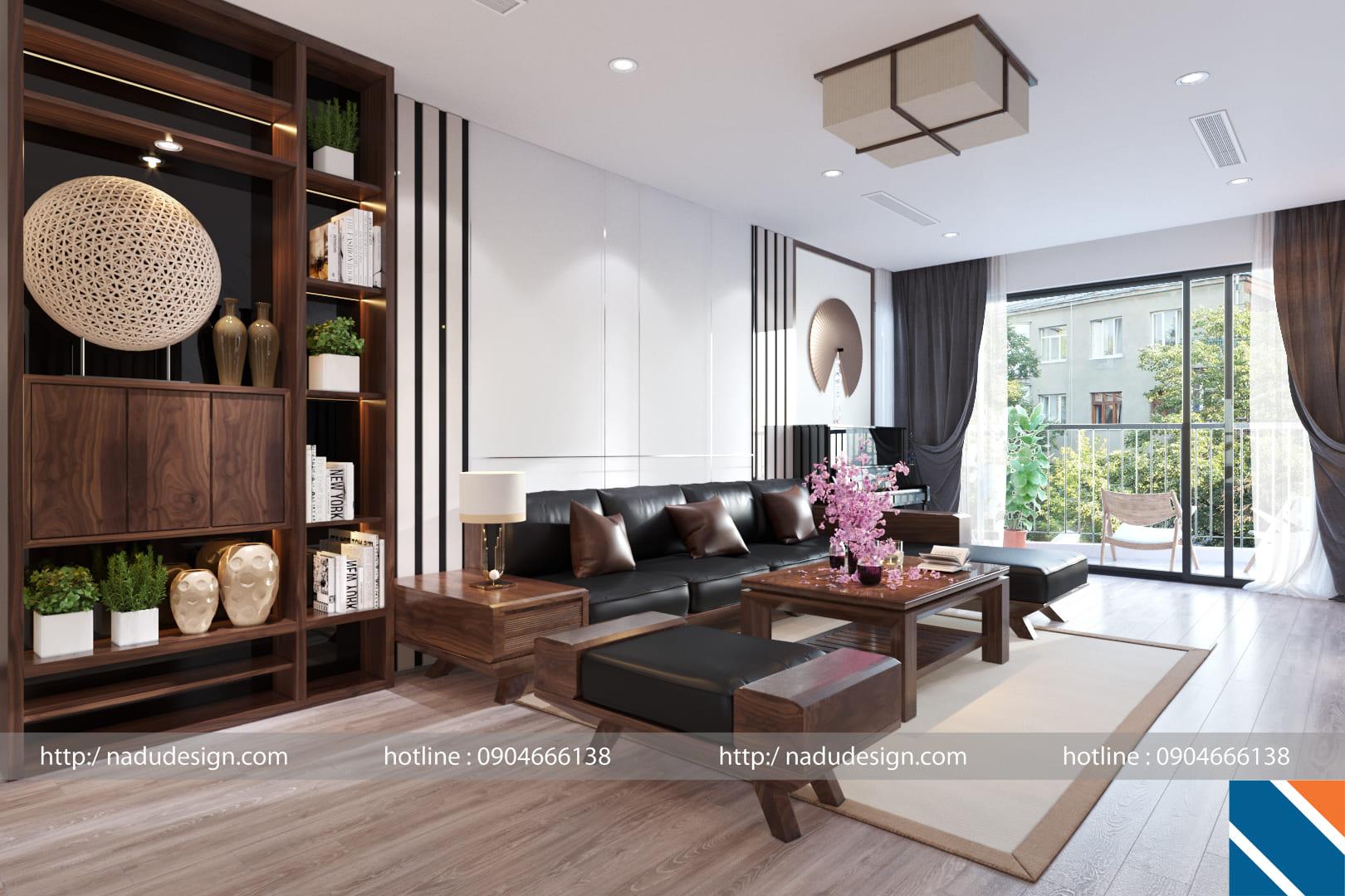 Thiết kế nội thất đẹp sang trọng với gỗ óc chó Chung cư 302 Cầu Giấy chị Thúy