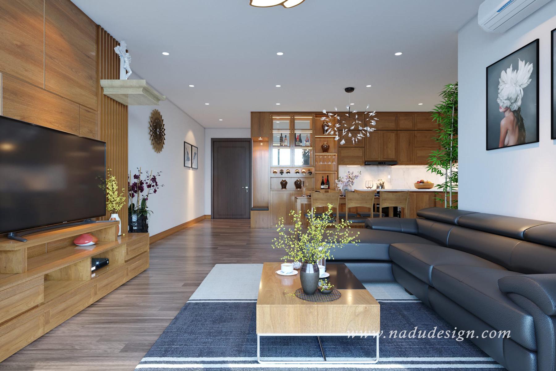 Thiết kế nội thất chung cư Eco Lake View với gỗ tự nhiên cực kỳ ấn tượng