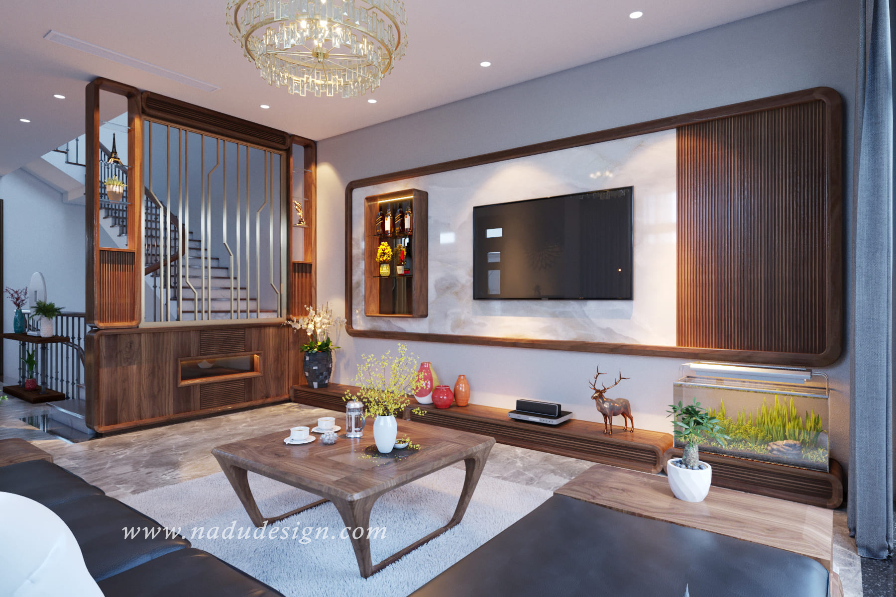 Thiết kế nội thất biệt thự liền kề Vinhome Green Bay đẳng cấp với gỗ óc chó