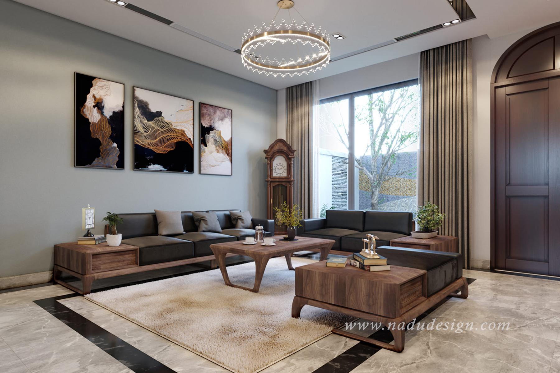 Thiết kế nội thất biệt thự gỗ óc chó cao cấp Vinhome Green Bay