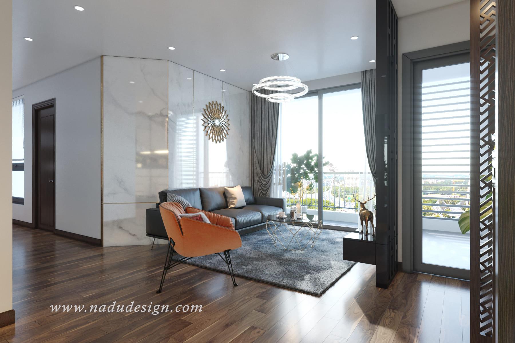 Thiết kế nội thất căn hộ chung cư tối giản với gam màu nâu trắng Vinhomes Green Bay