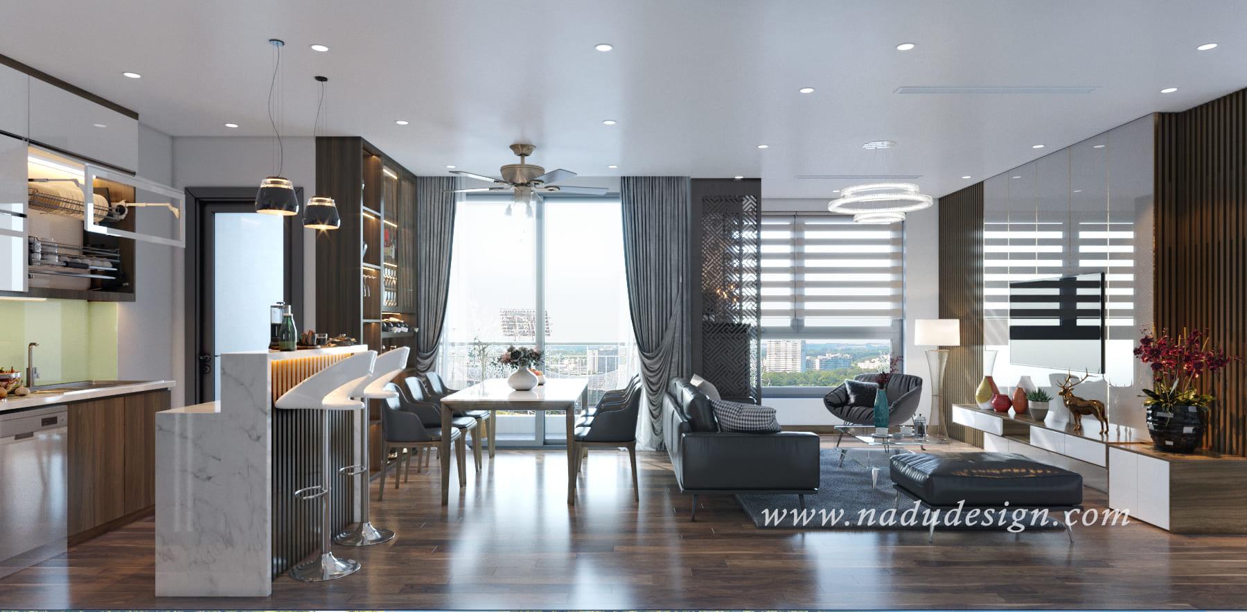 Thiết kế nội thất phòng khách chung cư Vinhomes Green Bay
