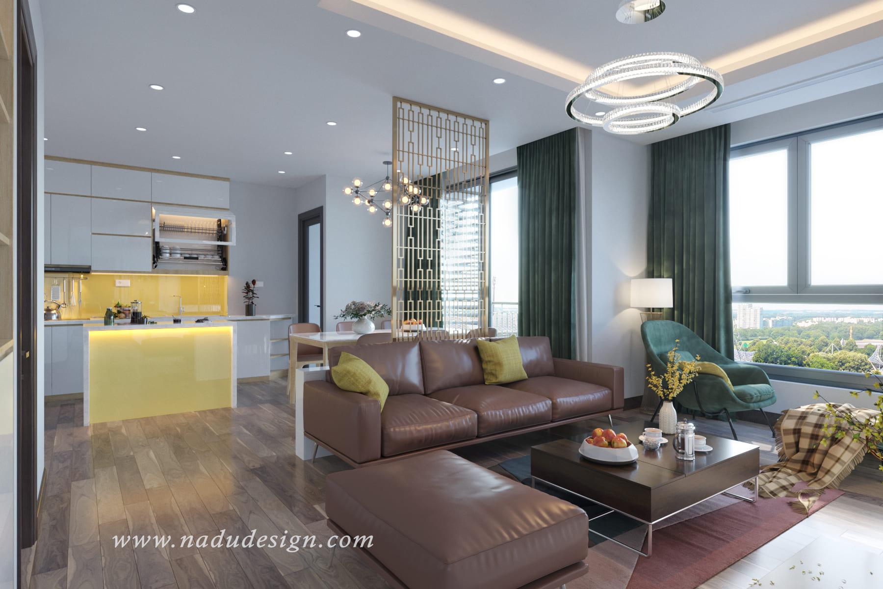 Thiết kế nội thất căn hộ chung cư Vinhomes Green Bay với gam màu trầm ấm