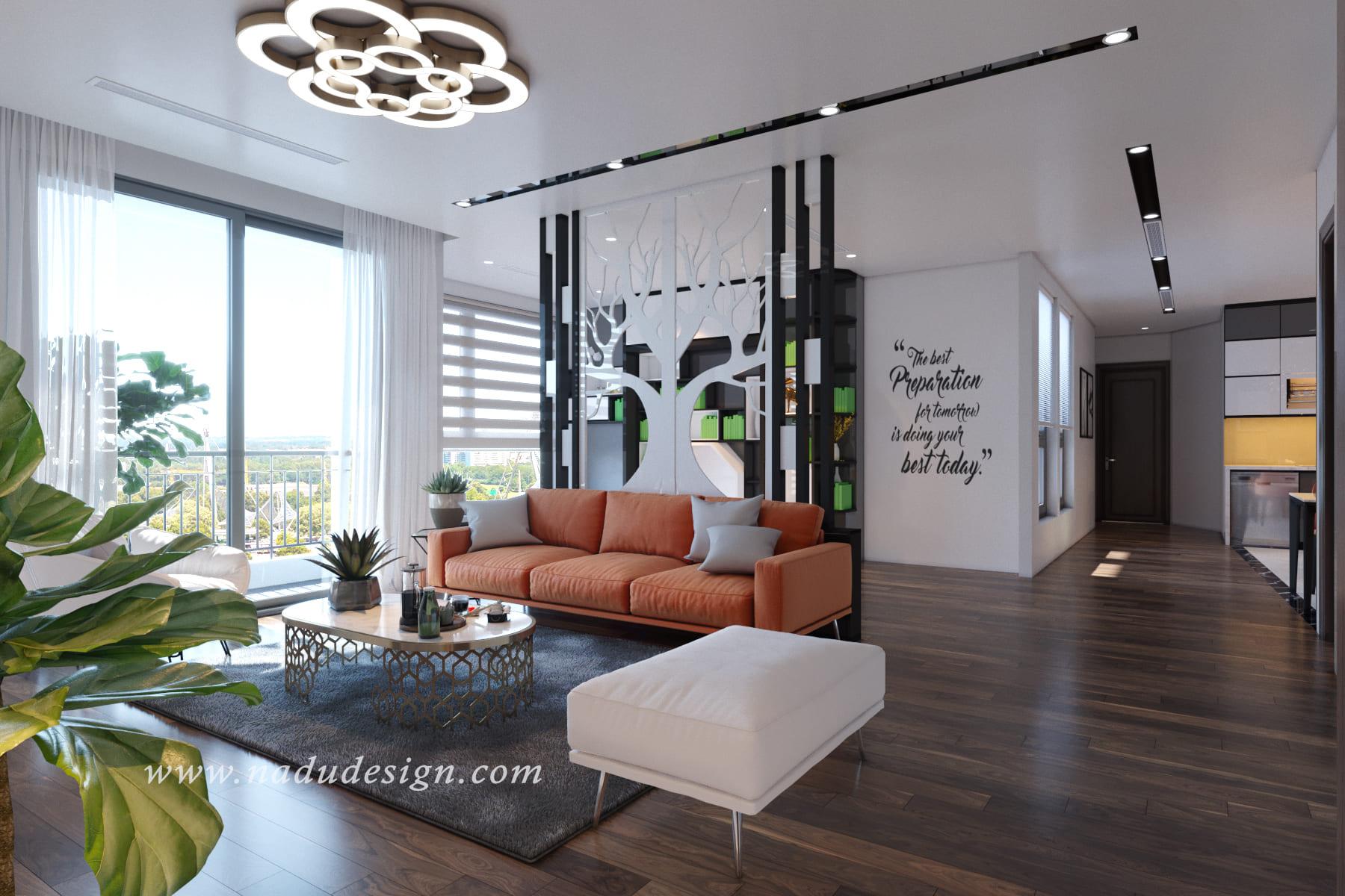 Thiết kế nội thất căn hộ Vinhomes Green Bay nổi bật với bộ sofa cam ấm nóng
