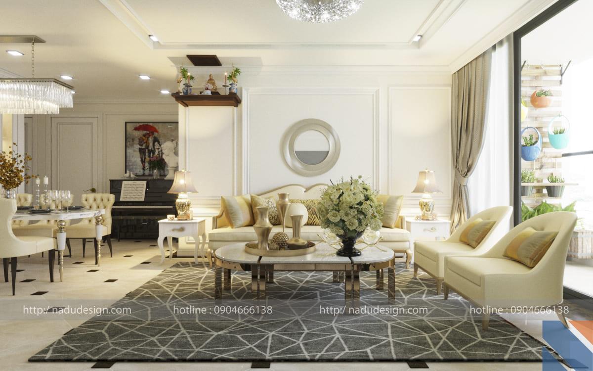 Thiết kế căn hộ Vinhomes Metropolis theo phong cách cổ điển