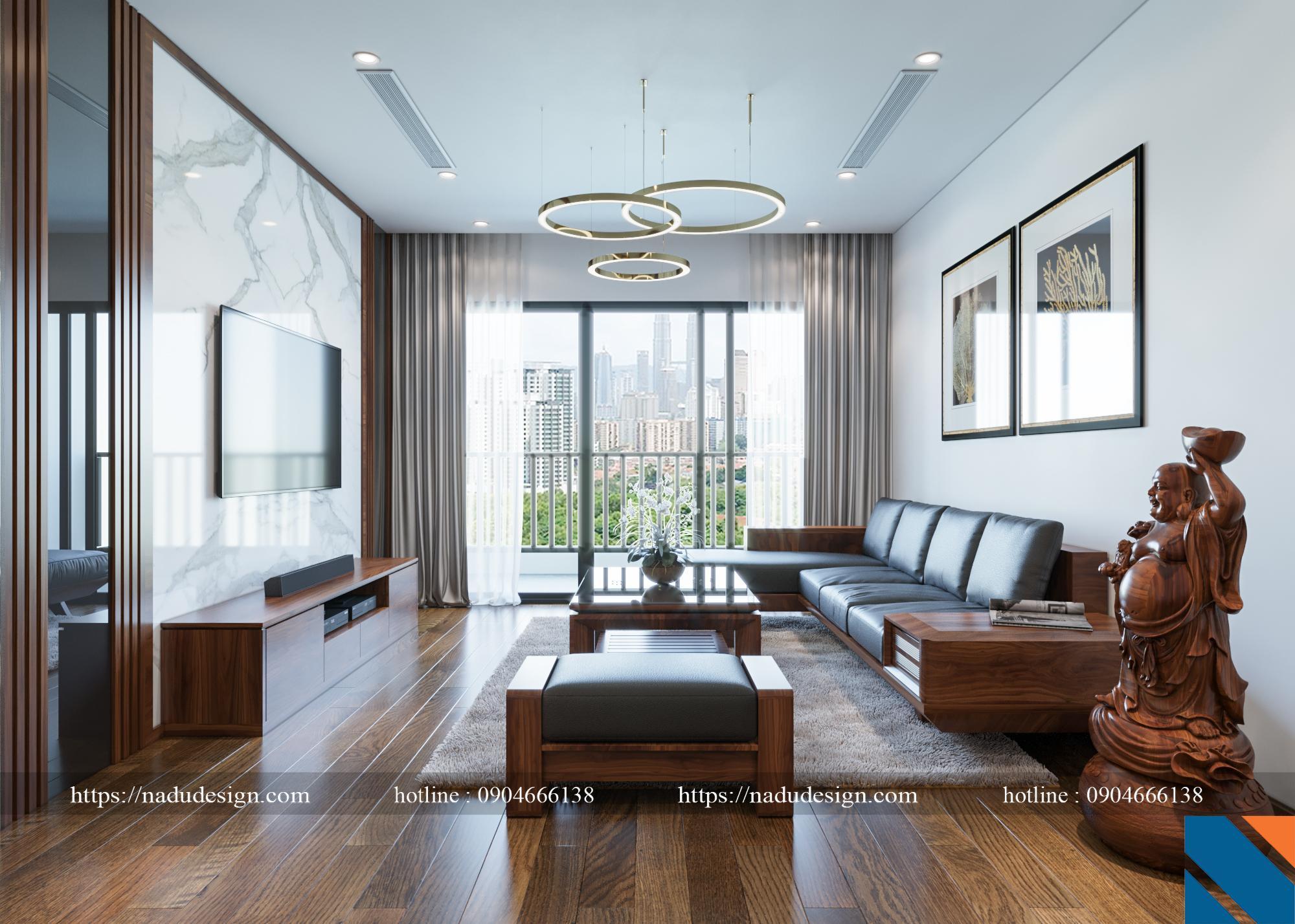 Thiết kế thi công căn hộ Vinhomes Skylake thanh lịch trong từng vân gỗ