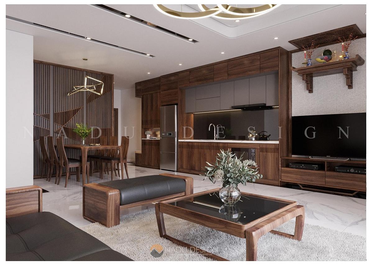 Thiết kế nội thất Vinhome WestPoint gỗ Óc Chó sang trọng