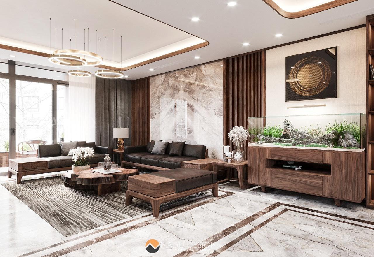 Thiết kế căn hộ Penthouse Dolphin Plaza gỗ óc chó thượng lưu