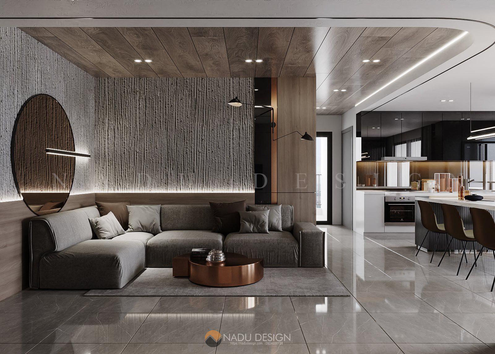 Thiếu kế nội thất căn hộ Vinhomes Smart City cực chất với tông xám tro